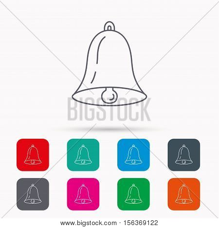 Bell icon. Sound sign. Alarm handbell symbol. Linear icons in squares on white background. Flat web symbols. Vector