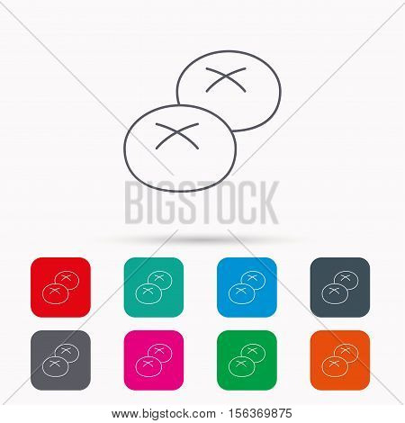 Bread rolls or buns icon. Natural food sign. Bakery symbol. Linear icons in squares on white background. Flat web symbols. Vector