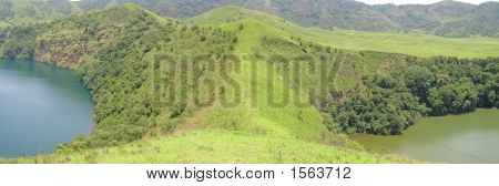 Two Lakes Blue And Green Between Green Hills, Cameroon, Africa, Panorama