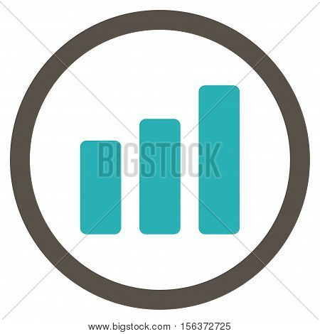 Bar Chart Increase vector bicolor rounded icon. Image style is a flat icon symbol inside a circle, grey and cyan colors, white background.