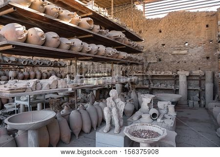 Archaeological finds in Pompeii the ancient Roman city destroyed during a catastrophic eruption of the volcano Mount Vesuvius in 79 AD