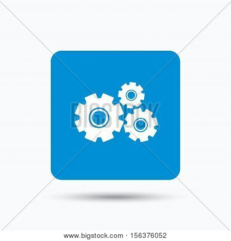 Cogwheels icon. Repair service symbol. Blue square button with flat web icon. Vector