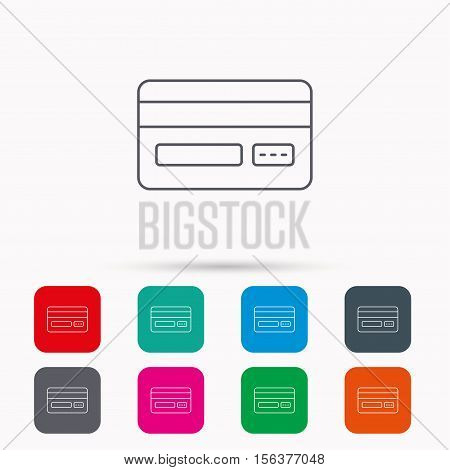 Credit card icon. Shopping sign. Linear icons in squares on white background. Flat web symbols. Vector