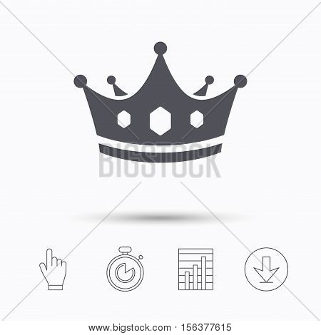 Crown icon. Royal throne leader symbol. Stopwatch timer. Hand click, report chart and download arrow. Linear icons. Vector
