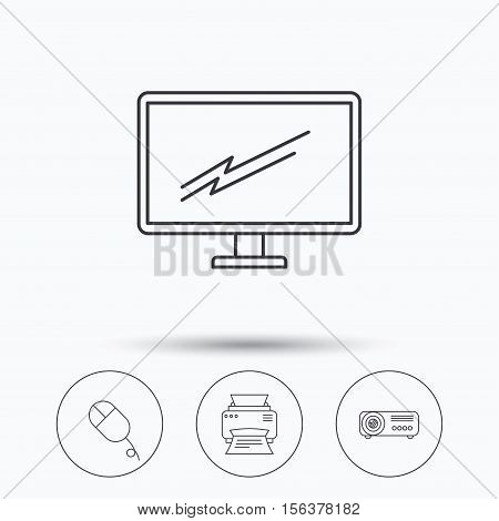 Monitor, printer and projector icons. PC mouse linear sign. Linear icons in circle buttons. Flat web symbols. Vector