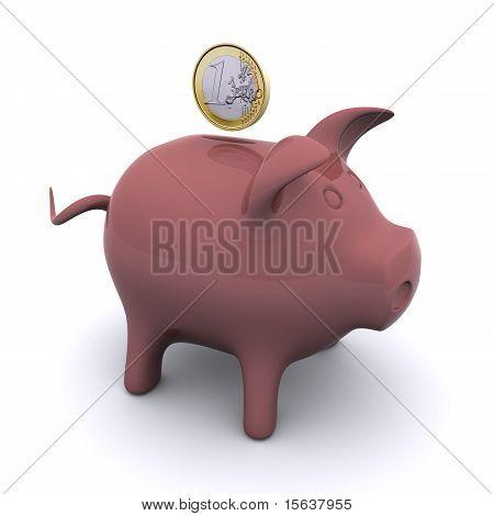 euro coin falls in the piggy bank