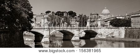 River Tiber and St Peters Basilica in Vatican City panorama
