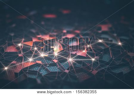 Artificial intelligence connections and nucleus in concept of interconnected neurons. 3D illustration. Abstract background with binary numbers neural network and cloud computing.