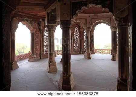 AGRA, INDIA - FEBRUARY 14: Columns inside palace of Agra Fort, UNESCO World heritage site in Agra. Uttar Pradesh, India on February 14, 2016.