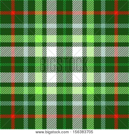 Seamless tartan plaid pattern in Christmas color palette of green, red & white. Traditional checkered design print. Plaid fabric texture background.