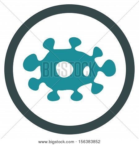 Virus vector bicolor rounded icon. Image style is a flat icon symbol inside a circle, soft blue colors, white background.