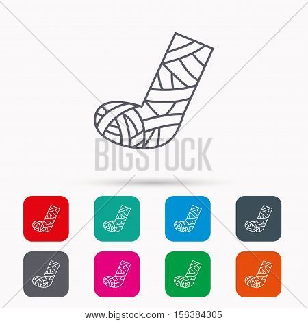 Gypsum or cast foot icon. Broken leg sign. Human recovery medicine symbol. Linear icons in squares on white background. Flat web symbols. Vector