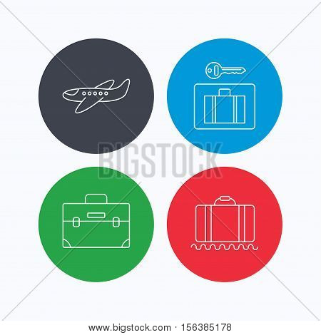 Baggage, luggage security and airplane icons. Briefcase linear sign. Linear icons on colored buttons. Flat web symbols. Vector