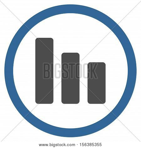 Bar Chart Decrease vector bicolor rounded icon. Image style is a flat icon symbol inside a circle, cobalt and gray colors, white background.