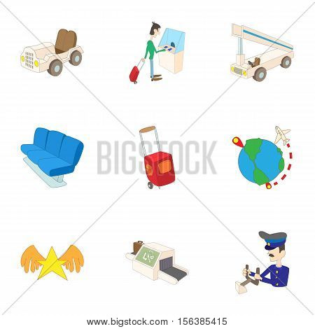 Arrive at airport icons set. Cartoon illustration of 9 arrive at airport vector icons for web