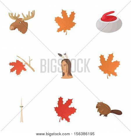 Attractions of Canada icons set. Cartoon illustration of 9 attractions of Canada vector icons for web