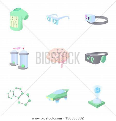 Electronic devices of future icons set. Cartoon illustration of 9 electronic devices of future vector icons for web