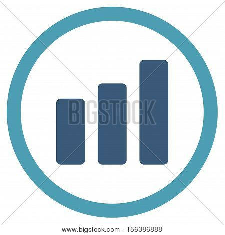 Bar Chart Increase vector bicolor rounded icon. Image style is a flat icon symbol inside a circle, cyan and blue colors, white background.