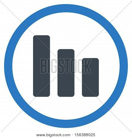 Bar Chart Decrease vector bicolor rounded icon. Image style is a flat icon symbol inside a circle, smooth blue colors, white background.
