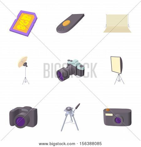 Photographing icons set. Cartoon illustration of 9 photographing vector icons for web