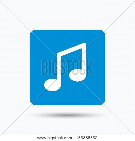 Music icon. Musical note sign. Melody symbol. Blue square button with flat web icon. Vector
