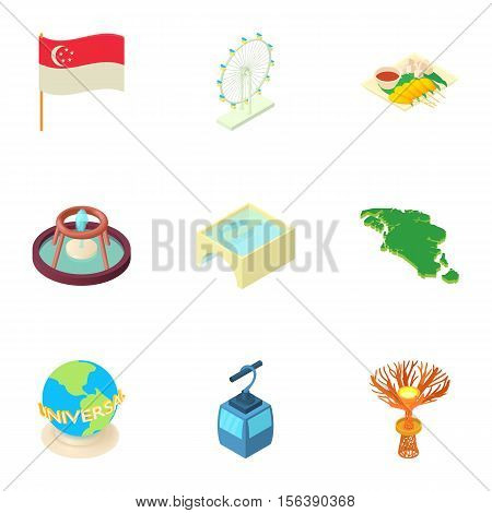 Attractions of Singapore icons set. Cartoon illustration of 9 attractions of Singapore vector icons for web