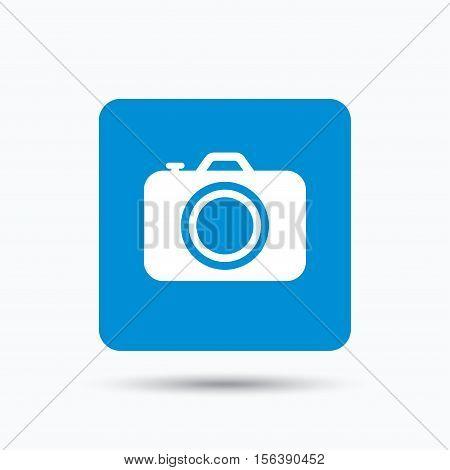 Camera icon. Professional photocamera symbol. Blue square button with flat web icon. Vector