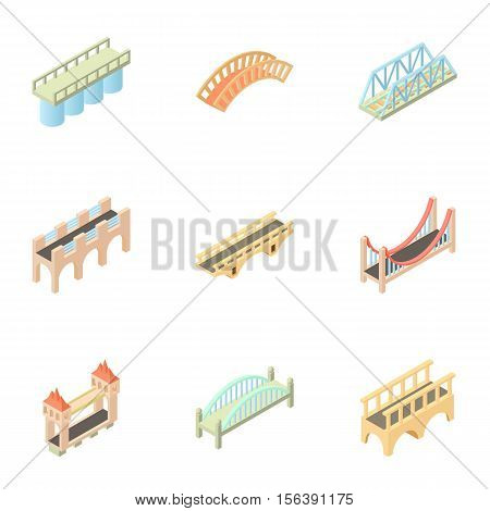 Bridge icons set. Cartoon illustration of 9 bridge vector icons for web