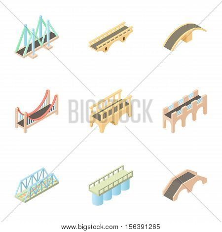 Facility for crossing river icons set. Cartoon illustration of 9 facility for crossing river vector icons for web