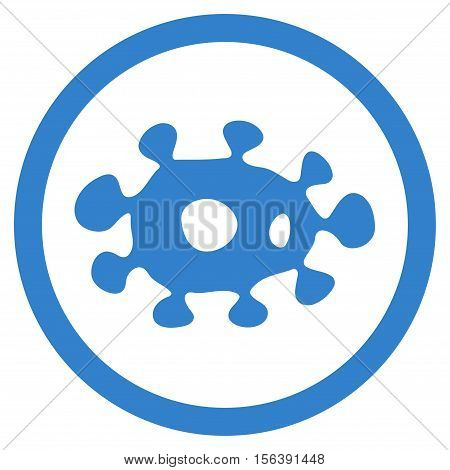 Virus vector rounded icon. Image style is a flat icon symbol inside a circle, cobalt color, white background.