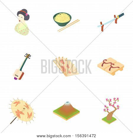 Attractions of South Korea icons set. Cartoon illustration of 9 attractions of South Korea vector icons for web