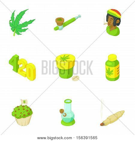 Drug icons set. Cartoon illustration of 9 drug vector icons for web