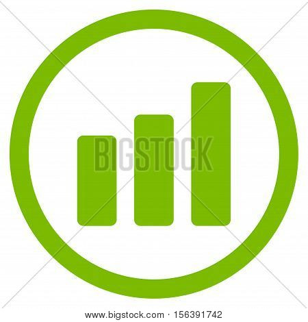 Bar Chart Increase vector rounded icon. Image style is a flat icon symbol inside a circle, eco green color, white background.