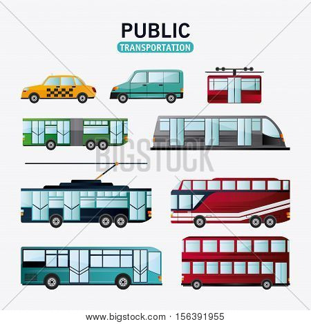 Bus cable car train trolley railways and taxi vehicle icon. Public Transportation travel and ride theme. Isolated and colorful design. Vector illustration