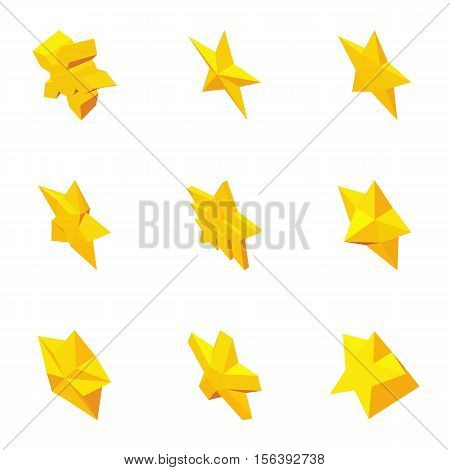 Star figure icons set. Cartoon illustration of 9 star figure vector icons for web