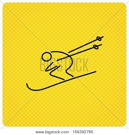 Skiing icon. Skis jumping extreme sport sign. Speed competition symbol. Linear icon on orange background. Vector