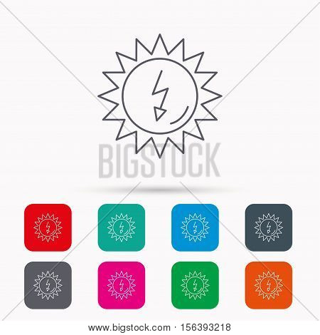 Solar energy icon. Ecological resources sign. Linear icons in squares on white background. Flat web symbols. Vector