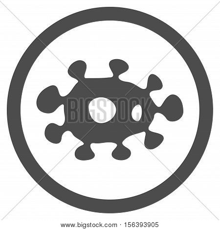Virus vector rounded icon. Image style is a flat icon symbol inside a circle, gray color, white background.