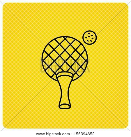 Table tennis icon. Ping pong sign. Professional sport symbol. Linear icon on orange background. Vector