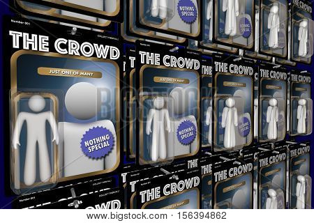 The Crowd Same Group People Action Figures 3d Illustration