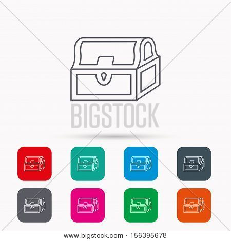 Treasure chest icon. Piratic treasury sign. Wealth symbol. Linear icons in squares on white background. Flat web symbols. Vector