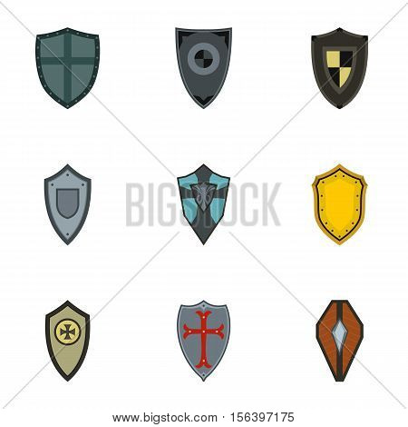 Military shield icons set. Flat illustration of 9 military shield vector icons for web