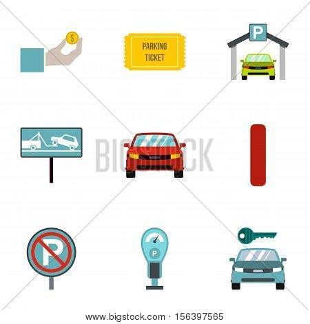 Parking station icons set. Flat illustration of 9 parking station vector icons for web