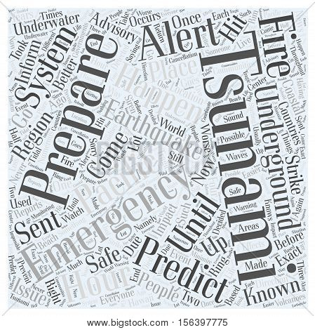 tsunami emergency preparation word cloud concept background