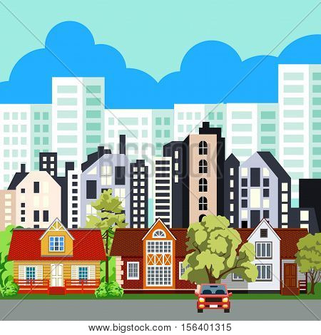 Various town houses. In the background, multi-storey buildings. White house on a background of blue sky. Closer many other houses. In the foreground colorful cottages. Green trees. Car near the house.