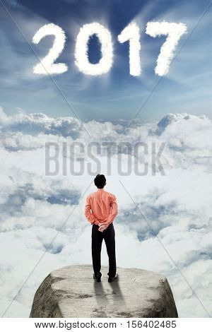 Rear view of a businessman looking at number 2017 on the sky while standing on a rock concept of a brighter future for his business