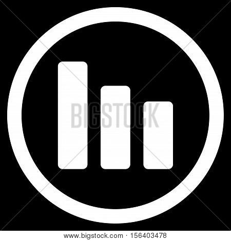 Bar Chart Decrease vector rounded icon. Image style is a flat icon symbol inside a circle, white color, black background.