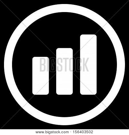 Bar Chart Increase vector rounded icon. Image style is a flat icon symbol inside a circle, white color, black background.