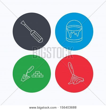 Spatula, screwdriver and paint brush icons. Brush linear sign. Linear icons on colored buttons. Flat web symbols. Vector