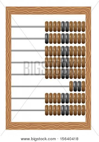 Vector illustration of old-fashioned  wooden abacus isolated on white background